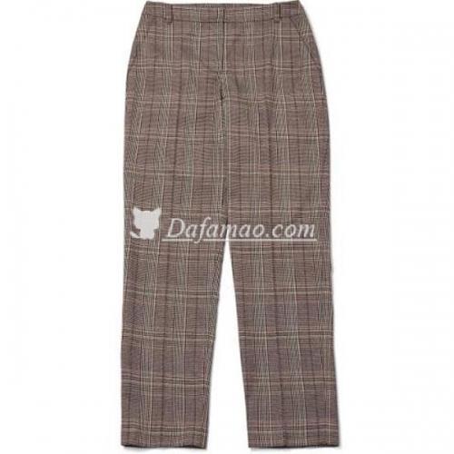 朴恩彬同款米色格子西装西裤